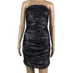 Express Strapless Dress Polka Dot Metallic Ruched